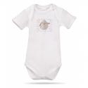 Lait Baby Organic Body Short Sleeve Tweet the Bird Gray