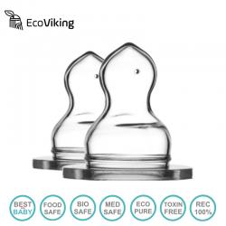 Eco Viking Antykolkowy Ortodontyczny Smoczek Silikonowy Stage 1 dla Noworodków 2 PACK