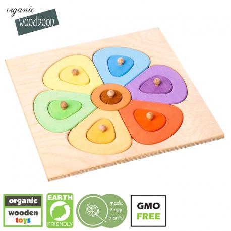 organic woodboon FLOWER SHAPES SMALL Kolorowy Kwiatuszek Puzzle Układanka Edukacyjna
