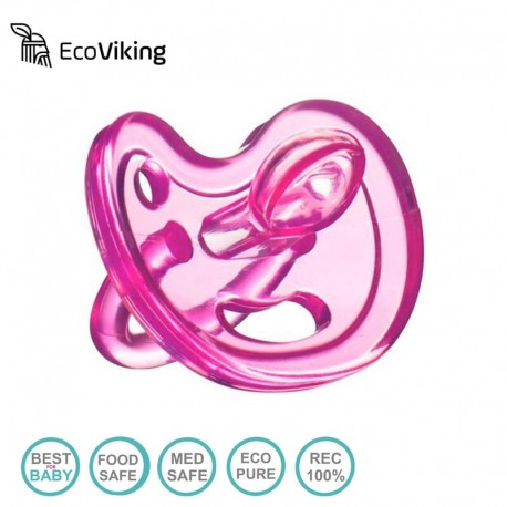 Eco Viking Anatomiczny Smoczek Uspokajający SiliMed Pink wiek 0m+