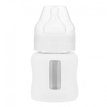 Eco Viking Antykolkowa Butelka Szklana Szeroka dla Niemowląt 120 ml White Mist
