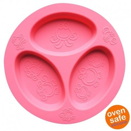 oogaa Pink Divided Plate silikonowy talerzyk trójdzielny