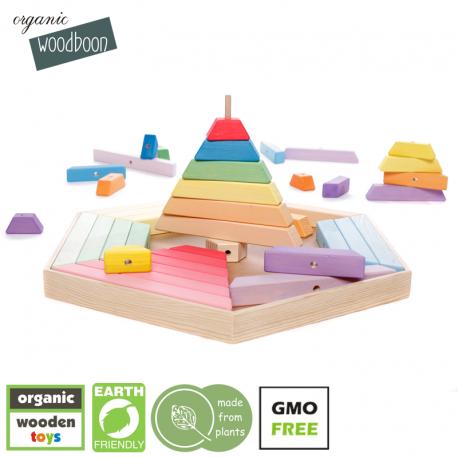 organic Woodboon RAINBOW Wielka Tęczowa Wieża Układanka Edukacyjna