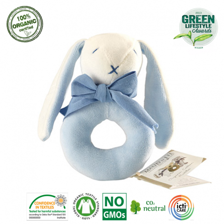 Maud N Lil Oscar the Bunny Ring Rattle Grzechotka Organiczna Miękka
