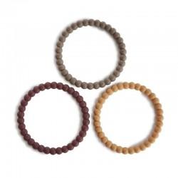 Mushie - 3 silikonowe bransoletki gryzaki PEARL Berry Marigold Khaki