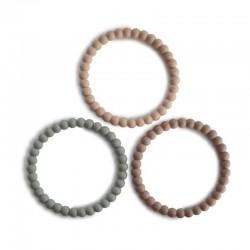 Mushie - 3 silikonowe bransoletki gryzaki PEARL Clary Sage Tuscany Desert Sand