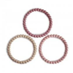Mushie - 3 silikonowe bransoletki gryzaki PEARL Linen Peony Pale Pink