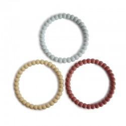Mushie - 3 silikonowe bransoletki gryzaki PEARL Mellow Terracotta Periwinkle