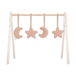 Jollein - 4 zabawki interaktywne do stojaka Babygym Moon Pale Pink