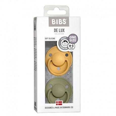 BIBS DE LUX ONE SIZE 2- PACK HONEY BEE & OLIVE Smoczek uspokajający silikonowy