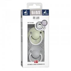 BIBS DE LUX ONE SIZE 2- PACK SAGE NIGHT & CLOUD NIGHT Smoczek uspokajający silikonowy