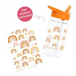 A Little Lovely Company - Bidon transparentny ze składanym ustnikiem Tęcza z naklejkami