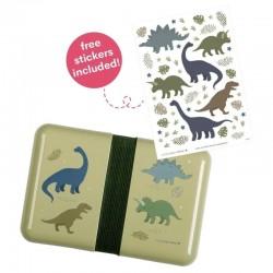A Little Lovely Company - Śniadaniówka Lunchbox Dinozaur z naklejkami