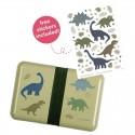 A Little Lovely Company - Śniadaniówka Lunchbox Dinozaury z naklejkami