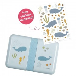 A Little Lovely Company - Śniadaniówka Lunchbox Ocean z naklejkami