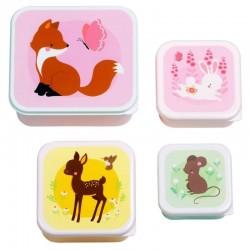 A Little Lovely Company - 4 Lśniące Lunchboxy śniadaniówki LEŚNI PRZYJACIELE