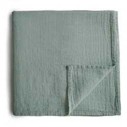 Mushie - otulacz kocyk letni 100% organic cotton Roman Green 120 x 120