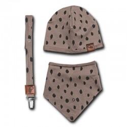 Hi Little One - czapeczka, bandanka i zawieszka do smoczka z organicznej bawełny GOTS Leopard Grey