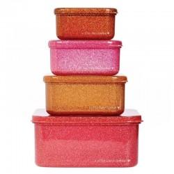 A Little Lovely Company - 4 Lśniące Lunchboxy śniadaniówki PINK