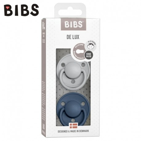 BIBS DE LUX 2-PACK CLOUD & STEEL BLUE Smoczek uspokajający silikonowy ONE SIZE