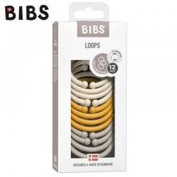 BIBS LOOPS 12-PACK - IVORY & HONEY BEE & SAND