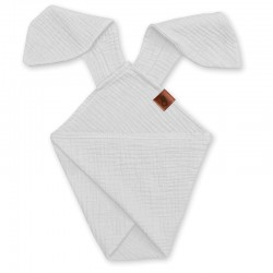 Hi Little One - Pieluszka dou dou BUNNY z organicznej BIO bawełny GOTS cozy muslin with ears 2in1 White