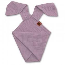 Hi Little One - Pieluszka dou dou BUNNY z organicznej BIO bawełny GOTS cozy muslin with ears 2in1 Blush