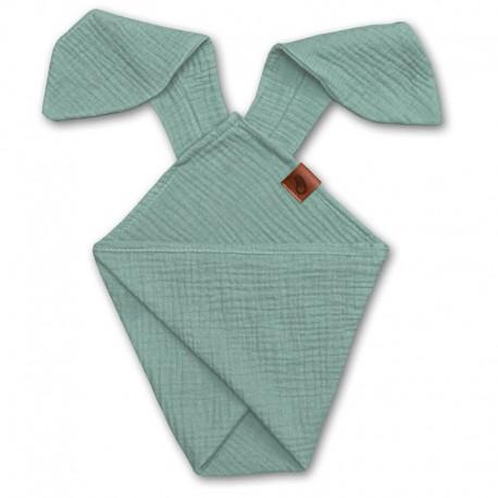 Hi Little One - Pieluszka dou dou RABBIT z organicznej BIO bawełny GOTS cozy muslin with ears 2in1 Forest Green