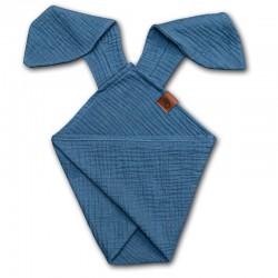 Hi Little One - Pieluszka dou dou uszami królika z organicznej BIO bawełny GOTS cozy muslin with ears 2in1 Navy