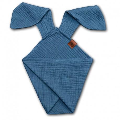 Hi Little One - Pieluszka dou dou RABBIT z organicznej BIO bawełny GOTS cozy muslin with ears 2in1 Jeans