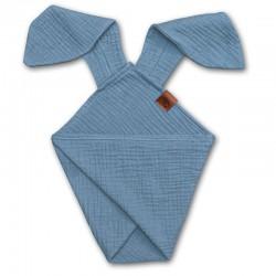 Hi Little One - Pieluszka dou dou BUNNY z organicznej BIO bawełny GOTS cozy muslin with ears 2in1 Baby Blue