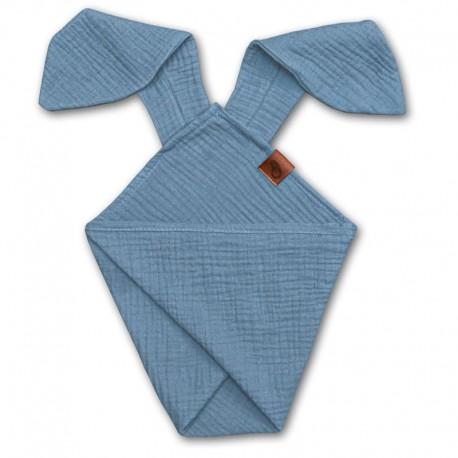 Hi Little One - Pieluszka dou dou RABBIT z organicznej BIO bawełny GOTS cozy muslin with ears 2in1 Baby Blue