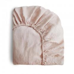 Mushie - prześcieradło do łóżeczka 120 x 60 cm Breathable Cotton Blush