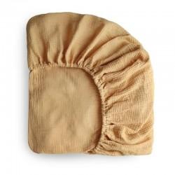 Mushie - prześcieradło do łóżeczka 120 x 60 cm Breathable Cotton Fall Yellow