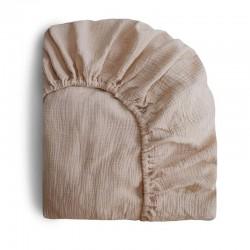Mushie - prześcieradło do łóżeczka 120 x 60 cm Breathable Cotton Natural