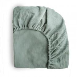 Mushie - prześcieradło do łóżeczka 120 x 60 cm Breathable Cotton Roman Green