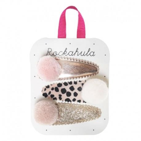 Rockahula Kids - 3 spinki do włosów Lily Leopard Pom Pom