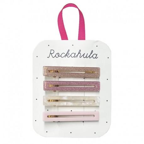 Rockahula Kids - 4 spinki do włosów Retro Acrylic Bar Pink