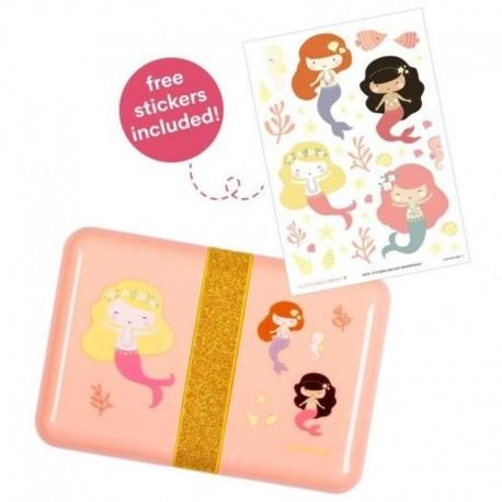 A Little Lovely Company - Śniadaniówka Lunchbox Syreny z naklejkami