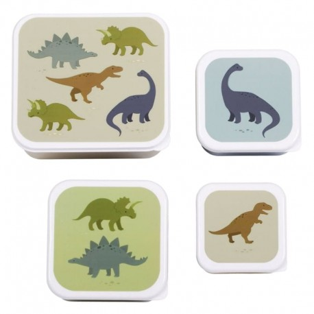 A Little Lovely Company - 4 Lunchboxy śniadaniówki Dinozaur