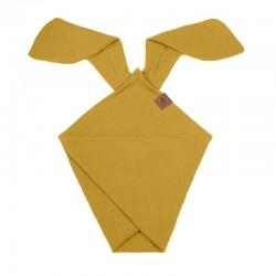 Hi Little One - Pieluszka dou dou BUNNY z organicznej BIO bawełny GOTS cozy muslin with ears 2in1 Mustard