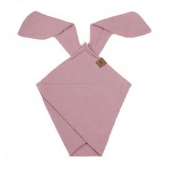 Hi Little One - Pieluszka dou dou BUNNY z organicznej BIO bawełny GOTS cozy muslin with ears 2in1 Baby Pink