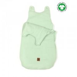 Hi Little One - śpiworek z organicznej BIO bawełny oddychającej GOTS NEWBORN SLEEPBAG MINT muslin cotton TOG 3,5 wiek 0 m+
