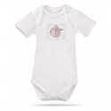 Lait Baby Organic Body Short Sleeve Tweet the Bird Gray