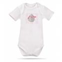 Lait Baby Organic Body Short Sleeve Tweet the Bird Pink