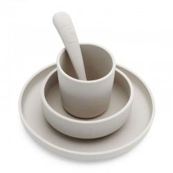 Jollein - 3 elementowa silikonowa zastawa do nauki samodzielnego jedzenia Nougat