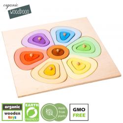 organic woodboon FLOWER SHAPES Kolorowy Kwiatek Puzzle Układanka Edukacyjna
