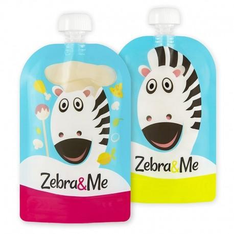 Zebra & Me CHEAF 2 PACK Saszetki do karmienia wielorazowe