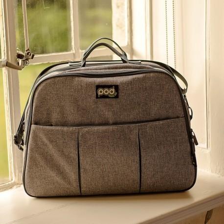 Bizzi Growin Pod Grey Linen - wielofunkcyjna torba łóżeczko turystyczne dla Niemowląt