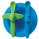 oogaa Blue Meal Set silikonowy talerzyk i 2 łyżeczki